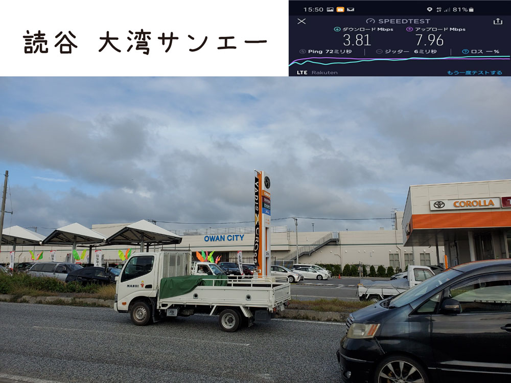 沖縄 楽天モバイル 通信速度 電波 読谷