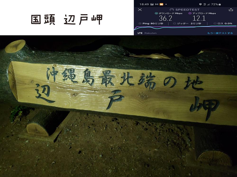 沖縄 楽天モバイル 通信速度 電波 辺戸岬