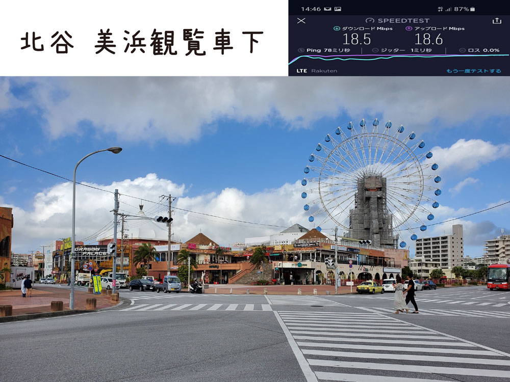 沖縄 楽天モバイル 通信速度 電波 美浜